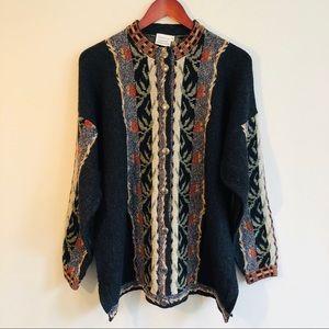 Vintage Intarsia Knit Cardigan Sweater